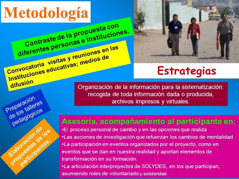 Metodología Estrategias Asesoría, acompañamiento al participante en: