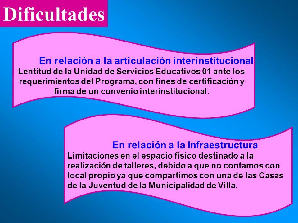 En relación a la articulación interinstitucional
