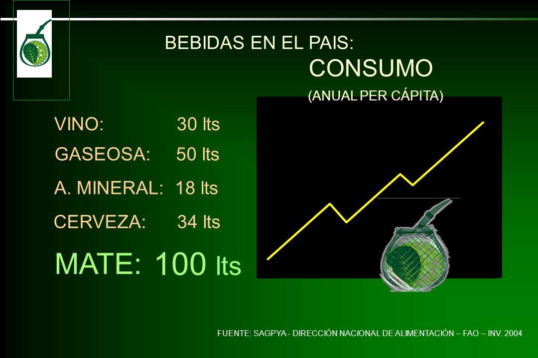 100 lts MATE: BEBIDAS EN EL PAIS: CONSUMO VINO: 30 lts GASEOSA: 50 lts