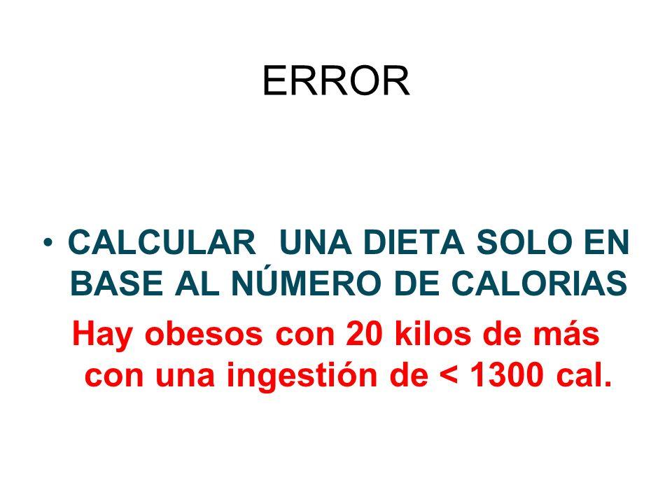 ERROR CALCULAR UNA DIETA SOLO EN BASE AL NÚMERO DE CALORIAS