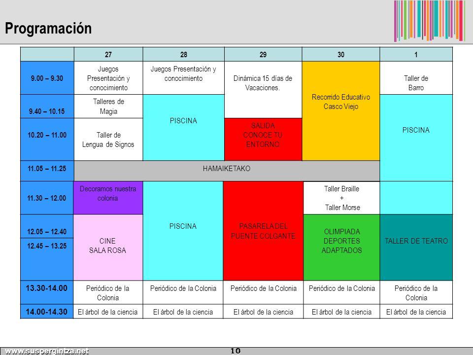 Programación 27. 28. 29. 30. 1. 9.00 – 9.30. Juegos Presentación y conocimiento. Dinámica 15 días de Vacaciones.
