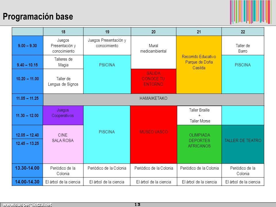 Programación base 18. 19. 20. 21. 22. 9.00 – 9.30. Juegos Presentación y conocimiento. Mural.
