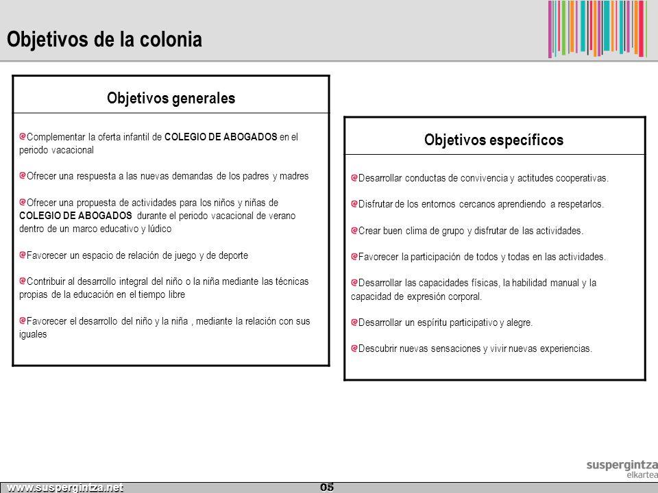 Objetivos de la colonia