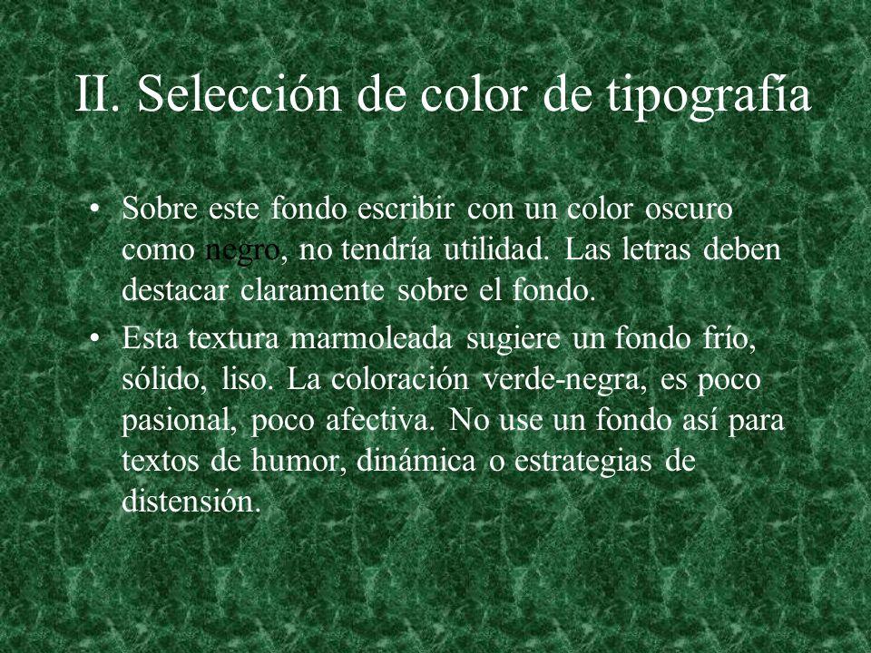 II. Selección de color de tipografía