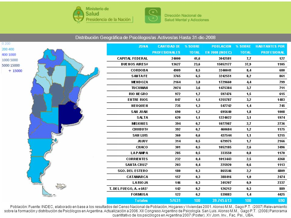 Distribución Geográfica de Psicólogos/as Activos/as Hasta 31-dic-2008