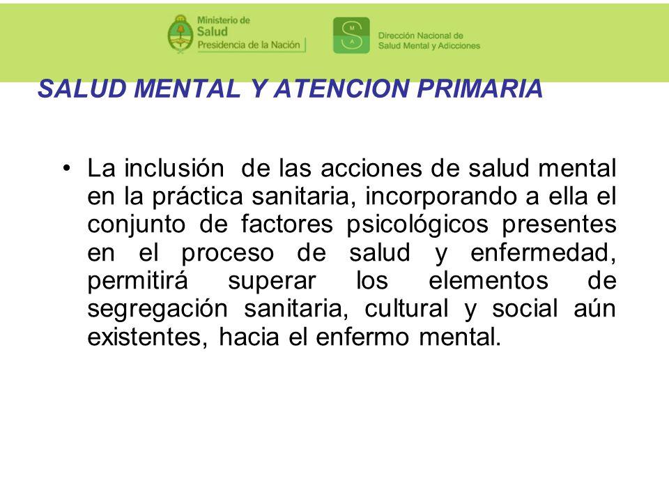 SALUD MENTAL Y ATENCION PRIMARIA