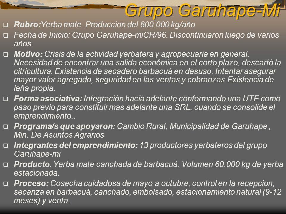 Grupo Garuhape-Mi Rubro:Yerba mate. Produccion del 600.000 kg/año