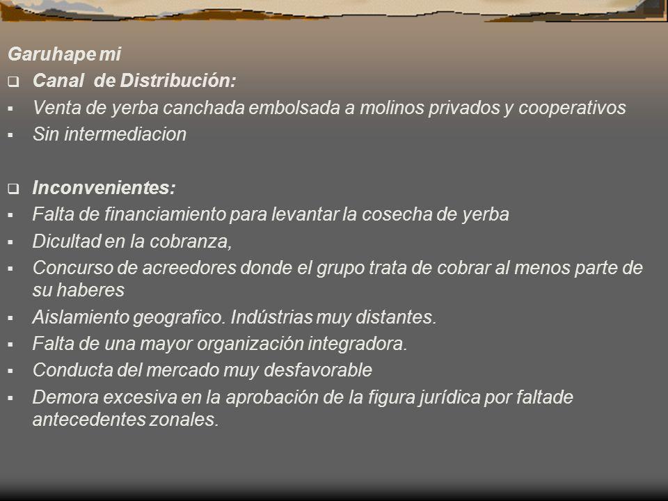 Garuhape mi Canal de Distribución: Venta de yerba canchada embolsada a molinos privados y cooperativos.