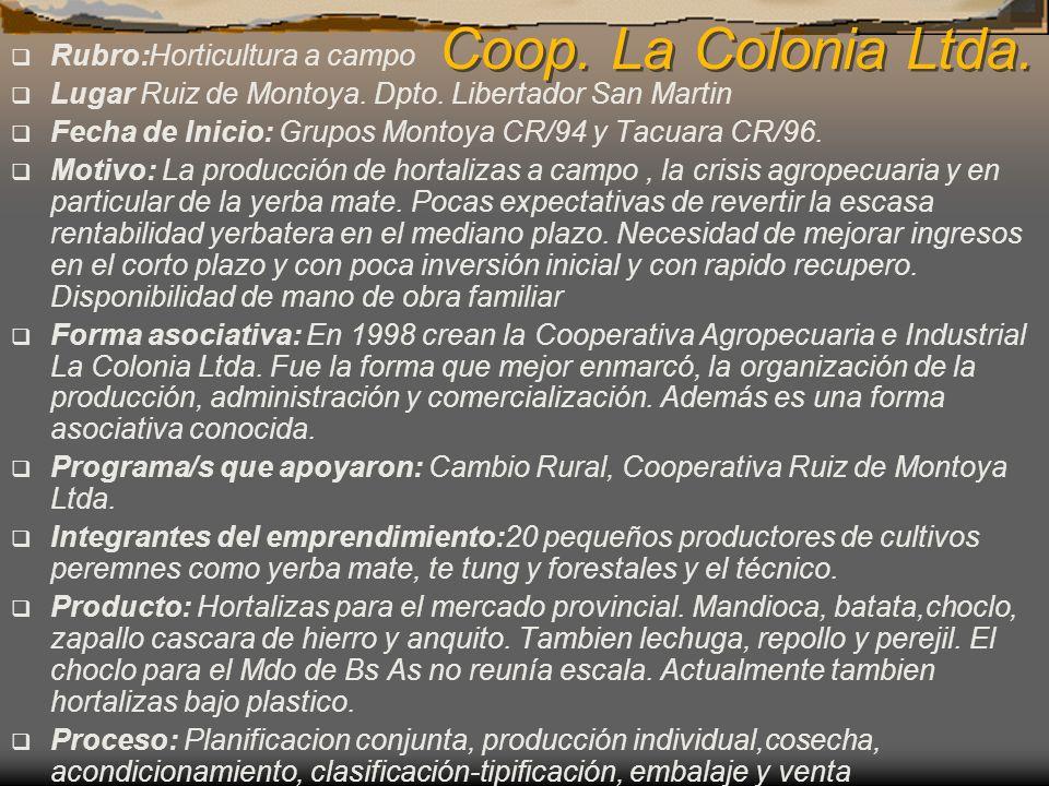 Coop. La Colonia Ltda. Rubro:Horticultura a campo