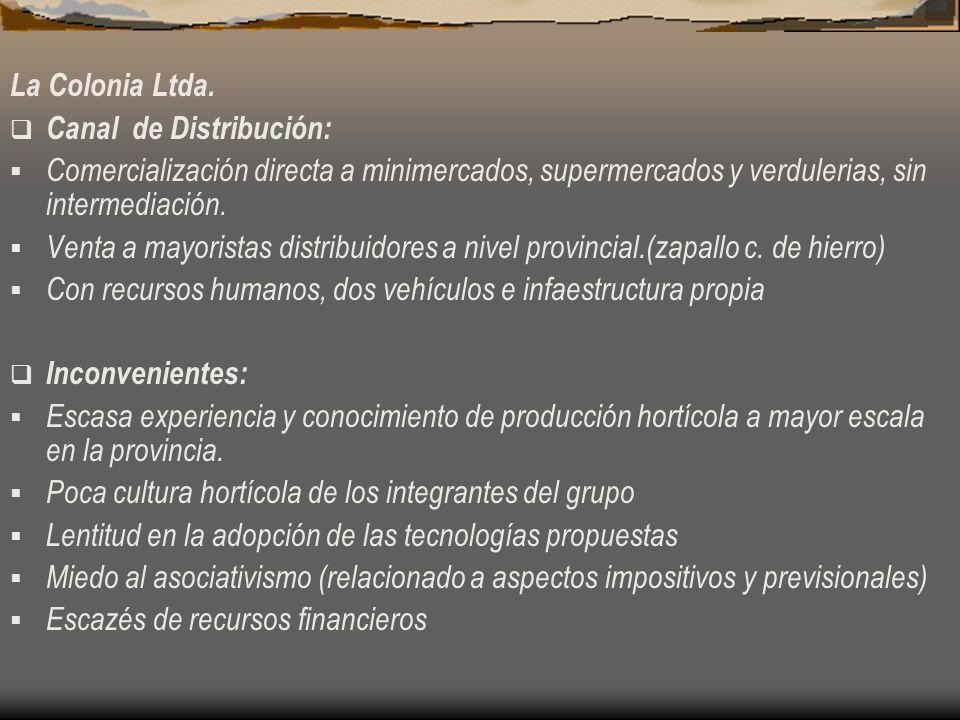 La Colonia Ltda. Canal de Distribución: Comercialización directa a minimercados, supermercados y verdulerias, sin intermediación.