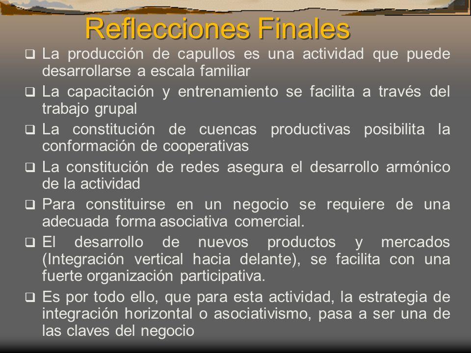 Reflecciones Finales La producción de capullos es una actividad que puede desarrollarse a escala familiar.