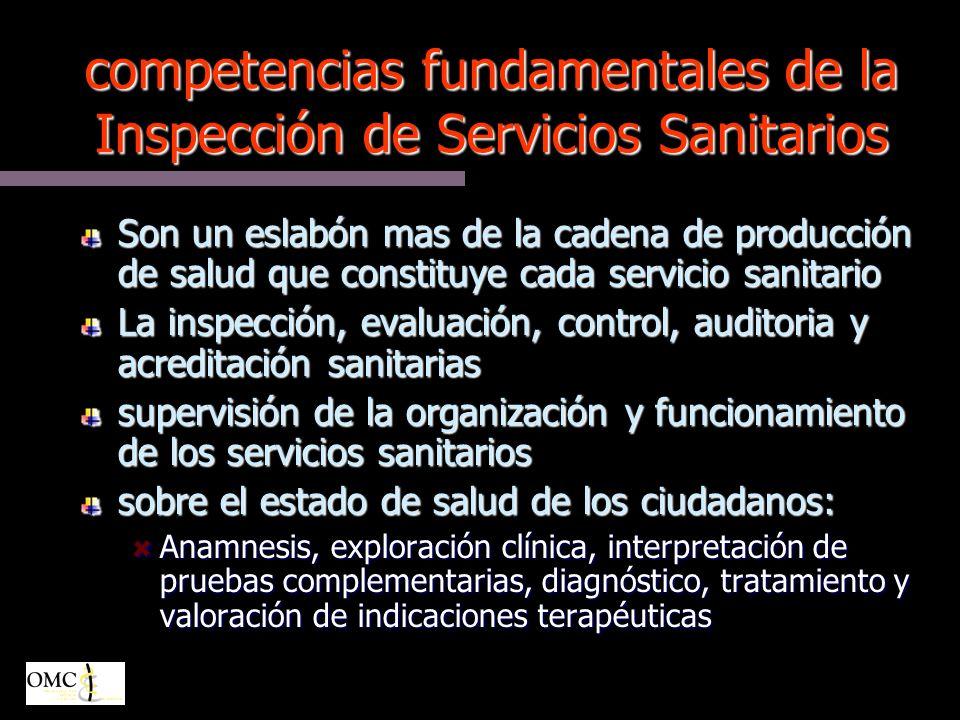competencias fundamentales de la Inspección de Servicios Sanitarios