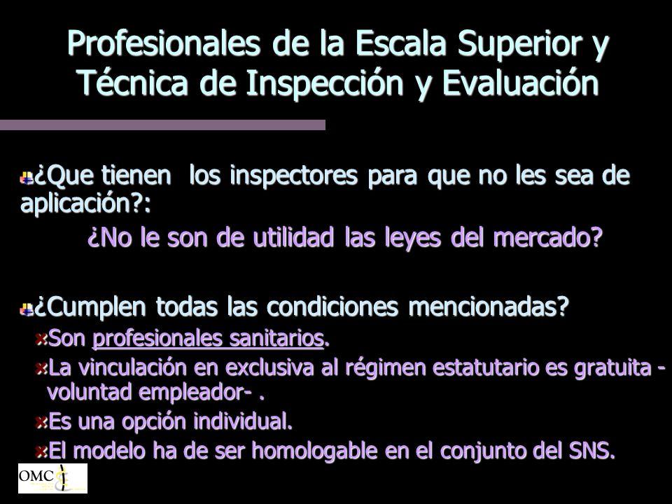 Profesionales de la Escala Superior y Técnica de Inspección y Evaluación