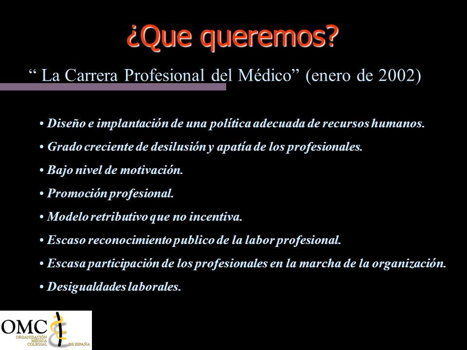 ¿Que queremos La Carrera Profesional del Médico (enero de 2002)