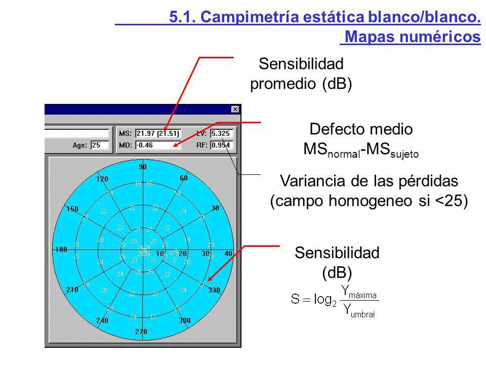 5.1. Campimetría estática blanco/blanco. Mapas numéricos