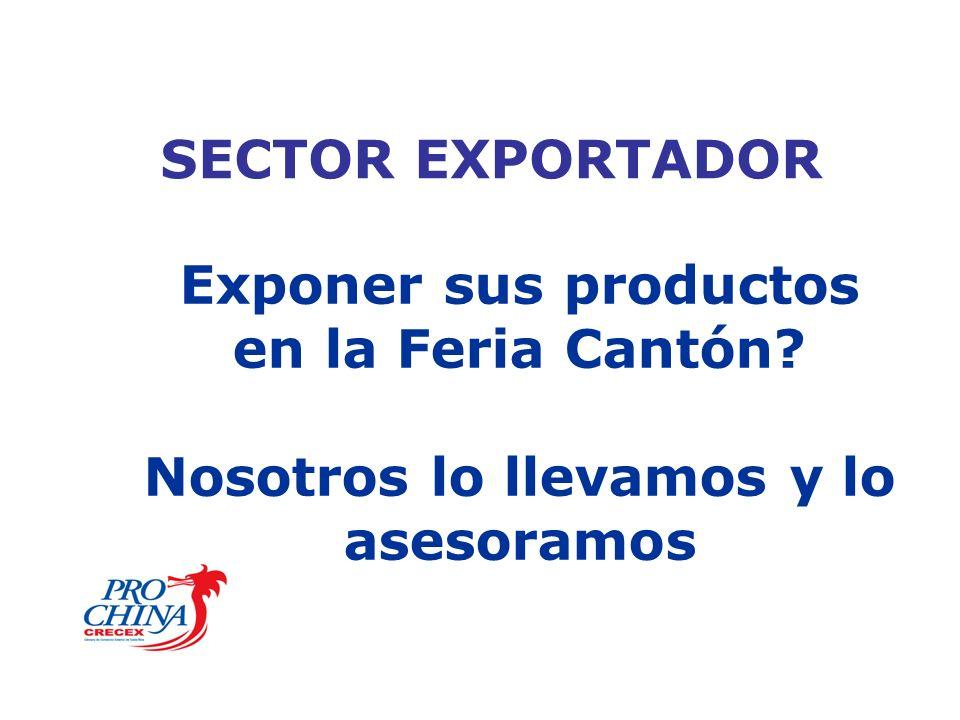 SECTOR EXPORTADOR Exponer sus productos en la Feria Cantón Nosotros lo llevamos y lo asesoramos