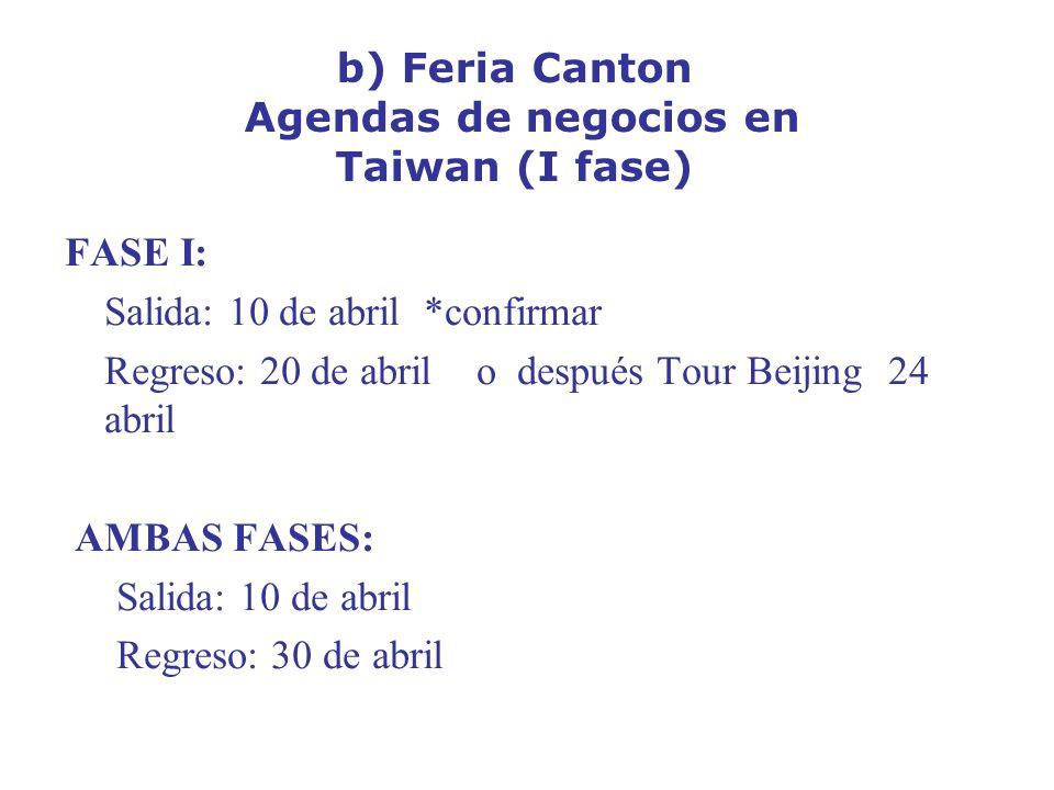 b) Feria Canton Agendas de negocios en Taiwan (I fase)