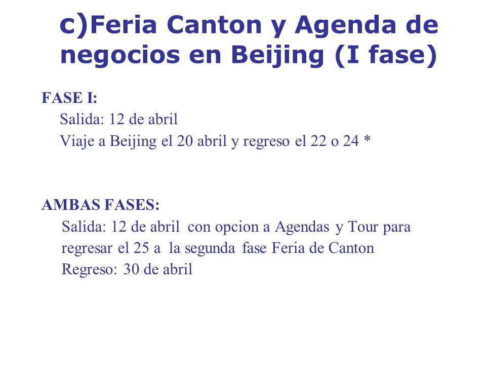 c)Feria Canton y Agenda de negocios en Beijing (I fase)