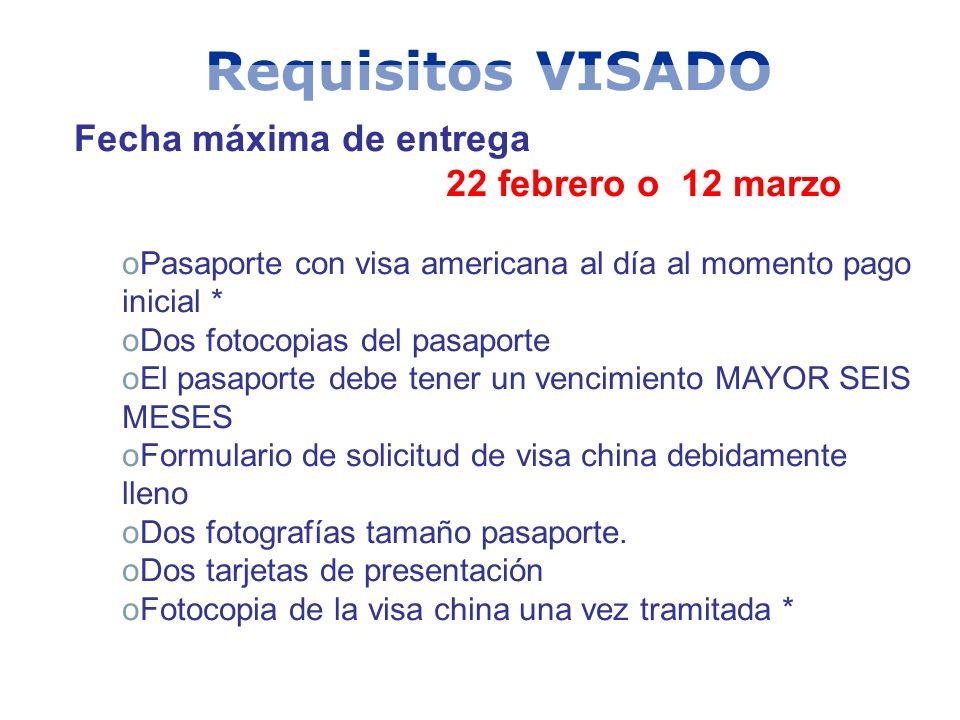 Requisitos VISADO Fecha máxima de entrega 22 febrero o 12 marzo