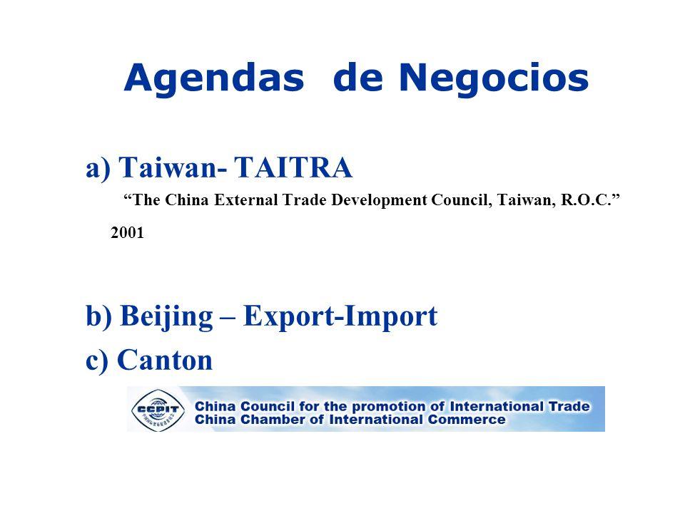 Agendas de Negocios a) Taiwan- TAITRA b) Beijing – Export-Import