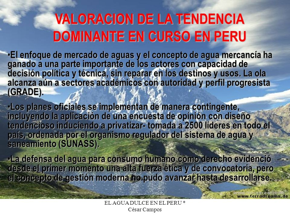 VALORACION DE LA TENDENCIA DOMINANTE EN CURSO EN PERU