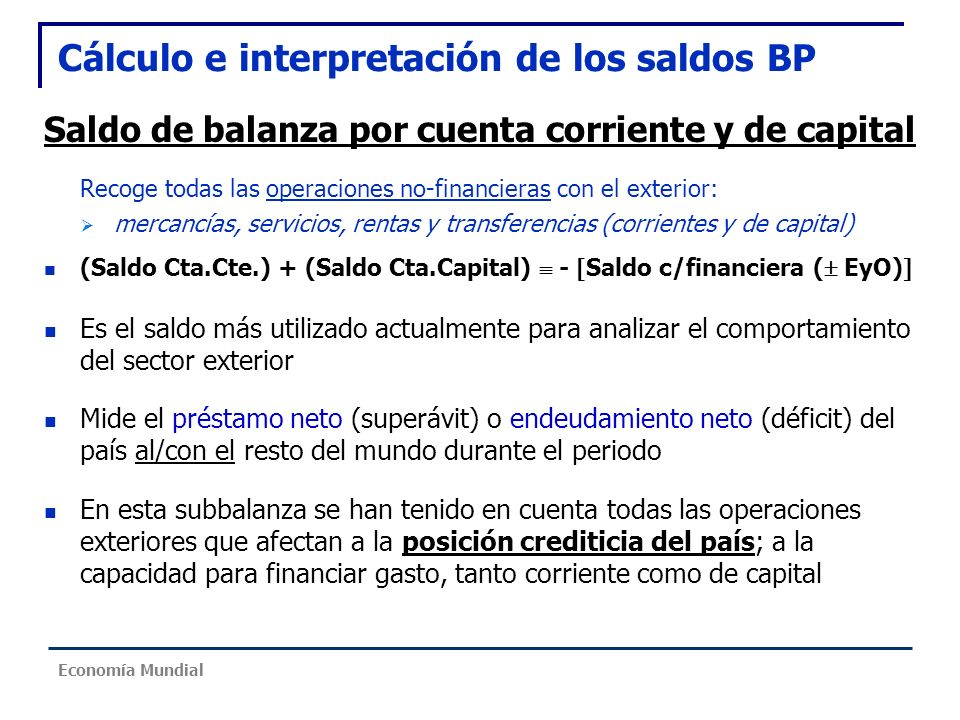 Cálculo e interpretación de los saldos BP