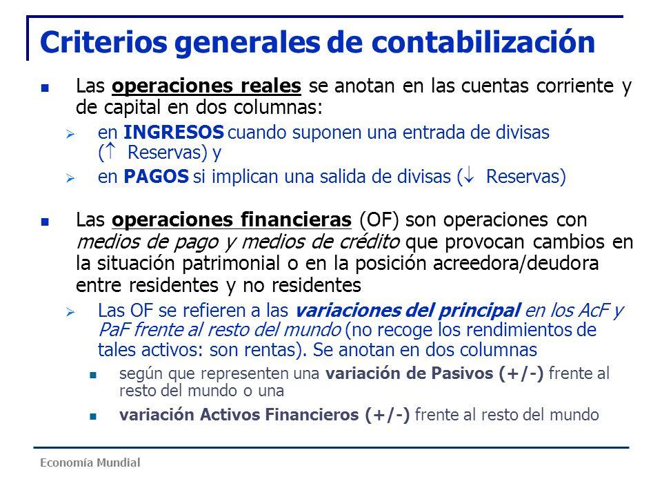 Criterios generales de contabilización