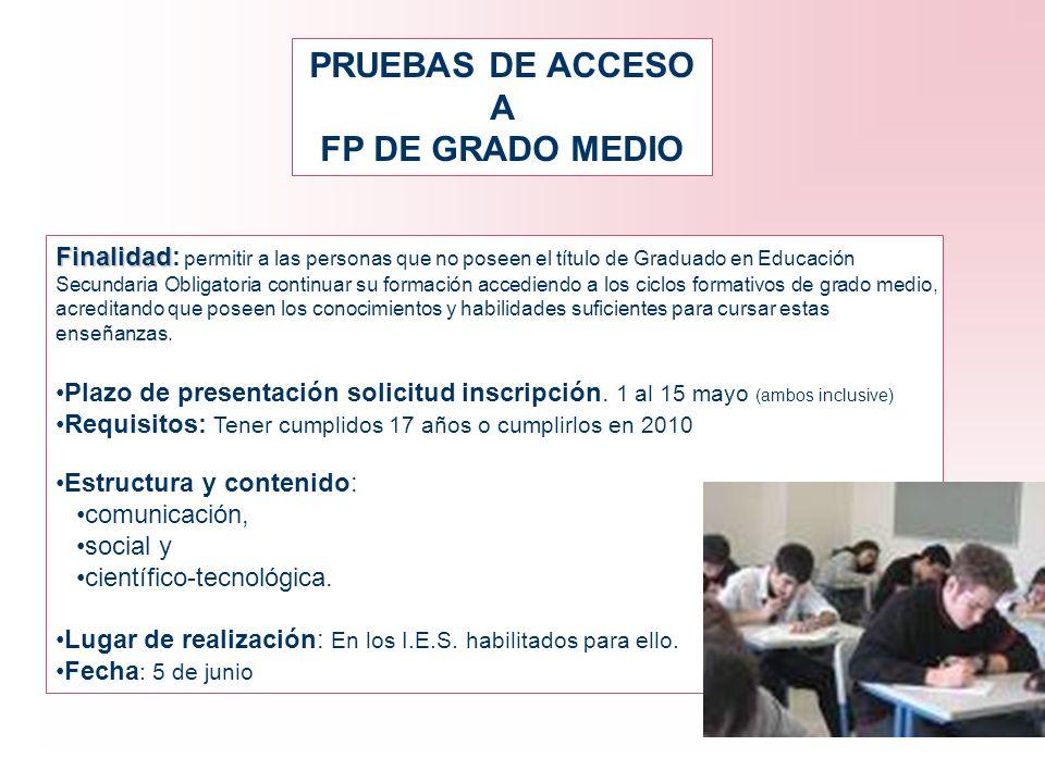 PRUEBAS DE ACCESO A FP DE GRADO MEDIO