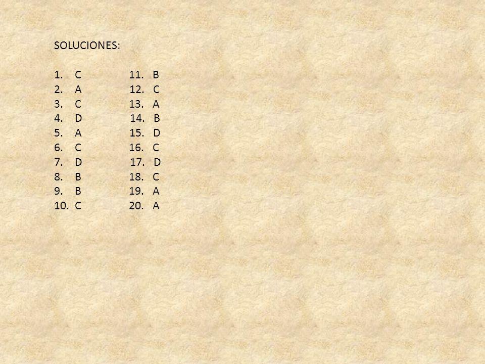 SOLUCIONES: C 11. B. A 12. C. C 13. A. D 14. B.
