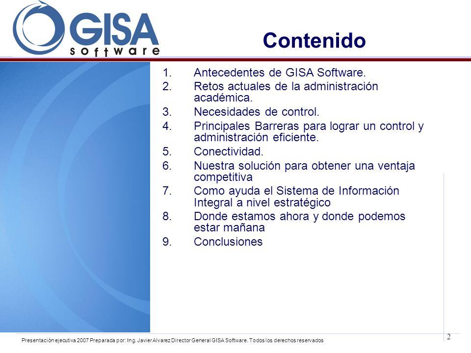 Contenido Antecedentes de GISA Software.