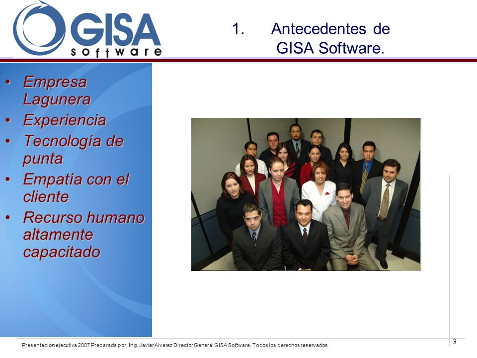 Antecedentes de GISA Software.