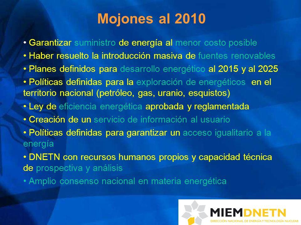 Mojones al 2010 Garantizar suministro de energía al menor costo posible. Haber resuelto la introducción masiva de fuentes renovables.