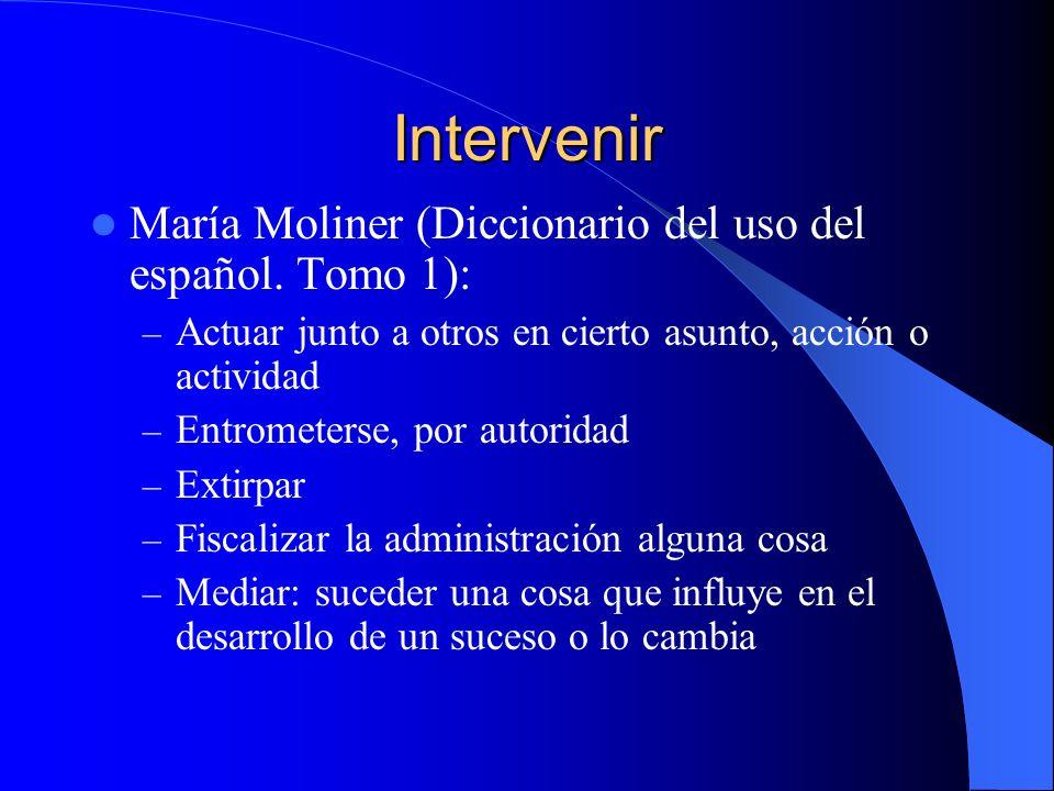 Intervenir María Moliner (Diccionario del uso del español. Tomo 1):