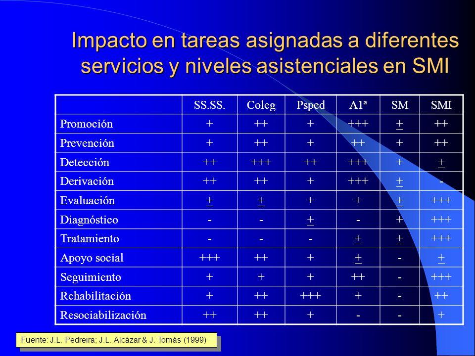 Impacto en tareas asignadas a diferentes servicios y niveles asistenciales en SMI