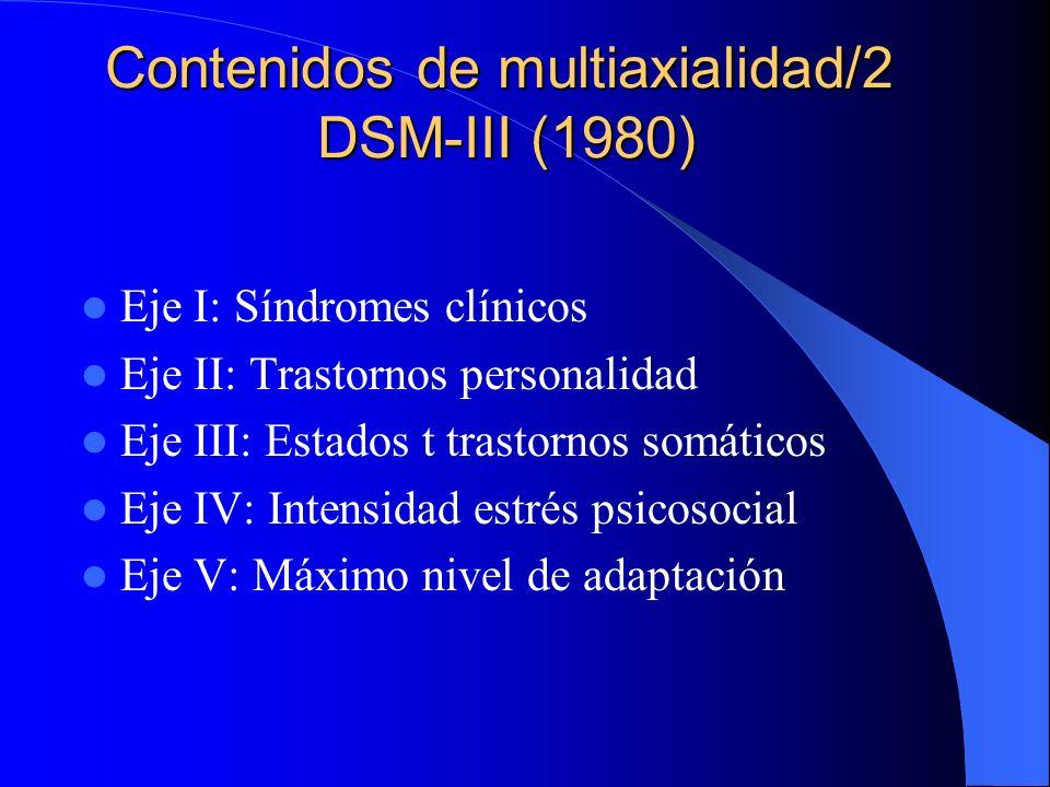 Contenidos de multiaxialidad/2 DSM-III (1980)