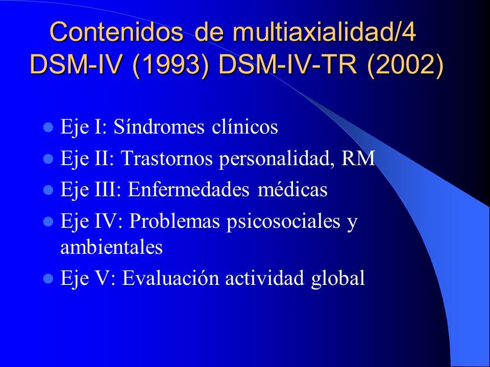 Contenidos de multiaxialidad/4 DSM-IV (1993) DSM-IV-TR (2002)