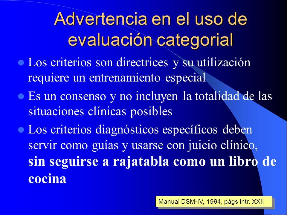 Advertencia en el uso de evaluación categorial