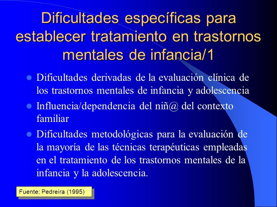 Dificultades específicas para establecer tratamiento en trastornos mentales de infancia/1