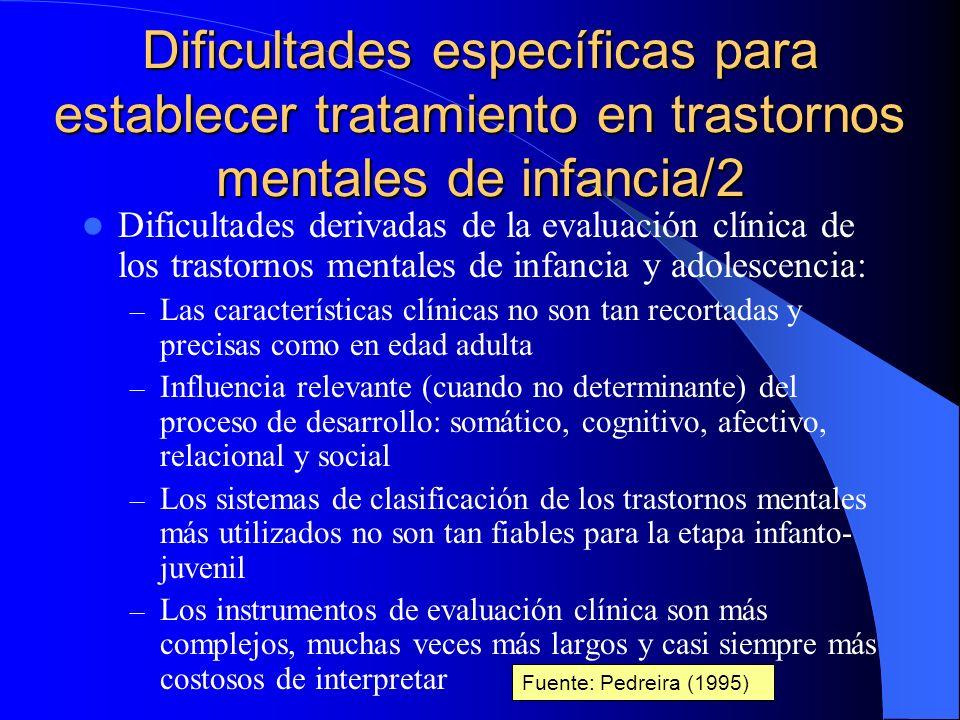 Dificultades específicas para establecer tratamiento en trastornos mentales de infancia/2