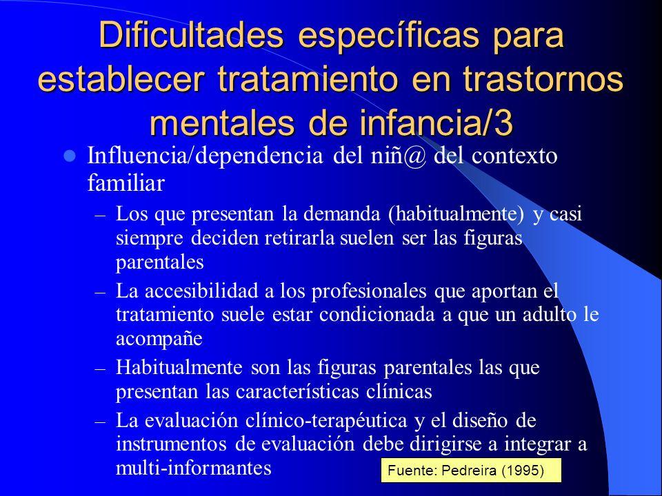 Dificultades específicas para establecer tratamiento en trastornos mentales de infancia/3