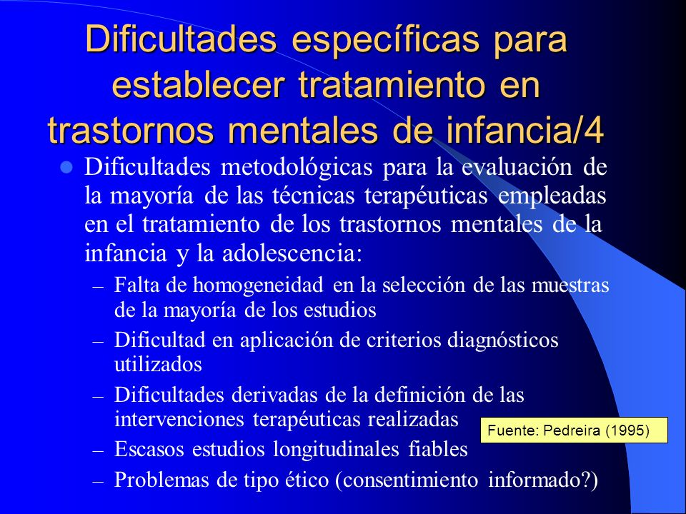 Dificultades específicas para establecer tratamiento en trastornos mentales de infancia/4