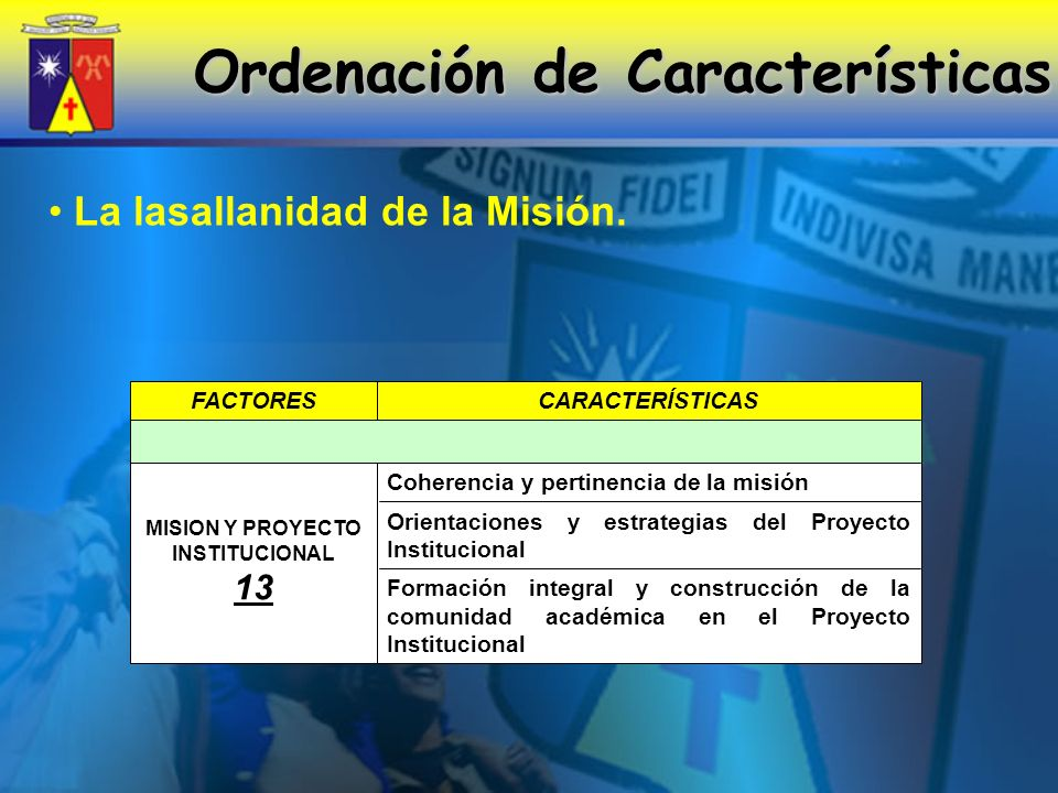 Ordenación de Características MISION Y PROYECTO INSTITUCIONAL