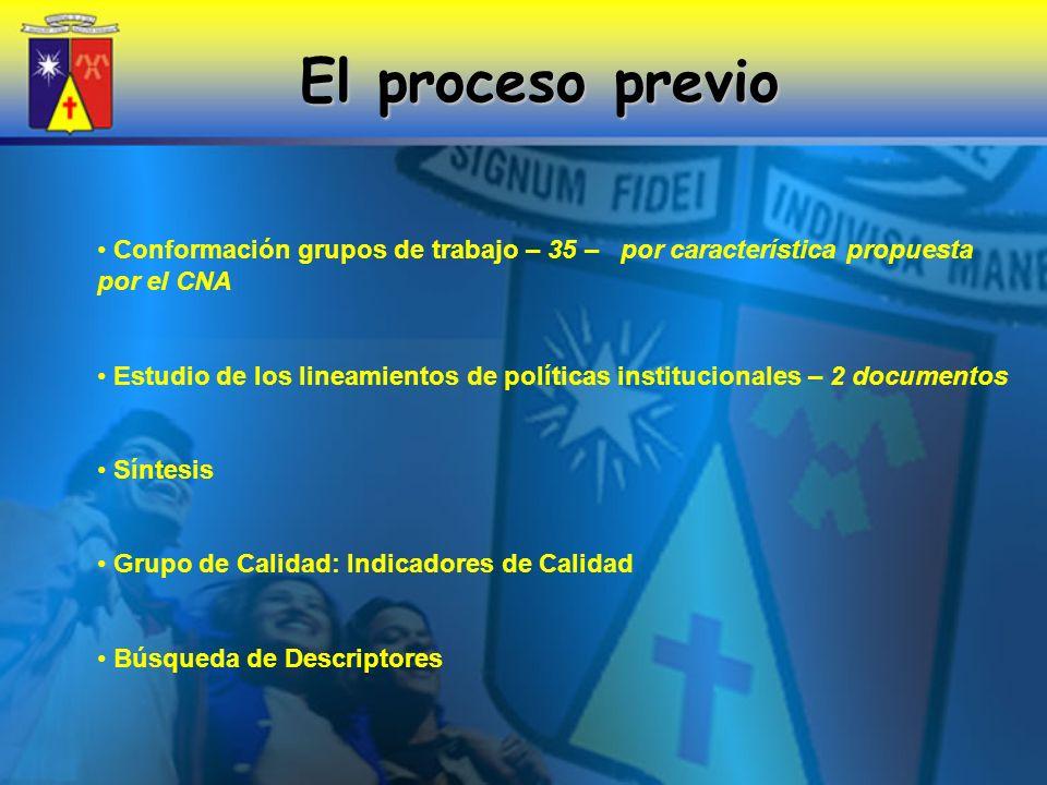 El proceso previo Conformación grupos de trabajo – 35 – por característica propuesta por el CNA.
