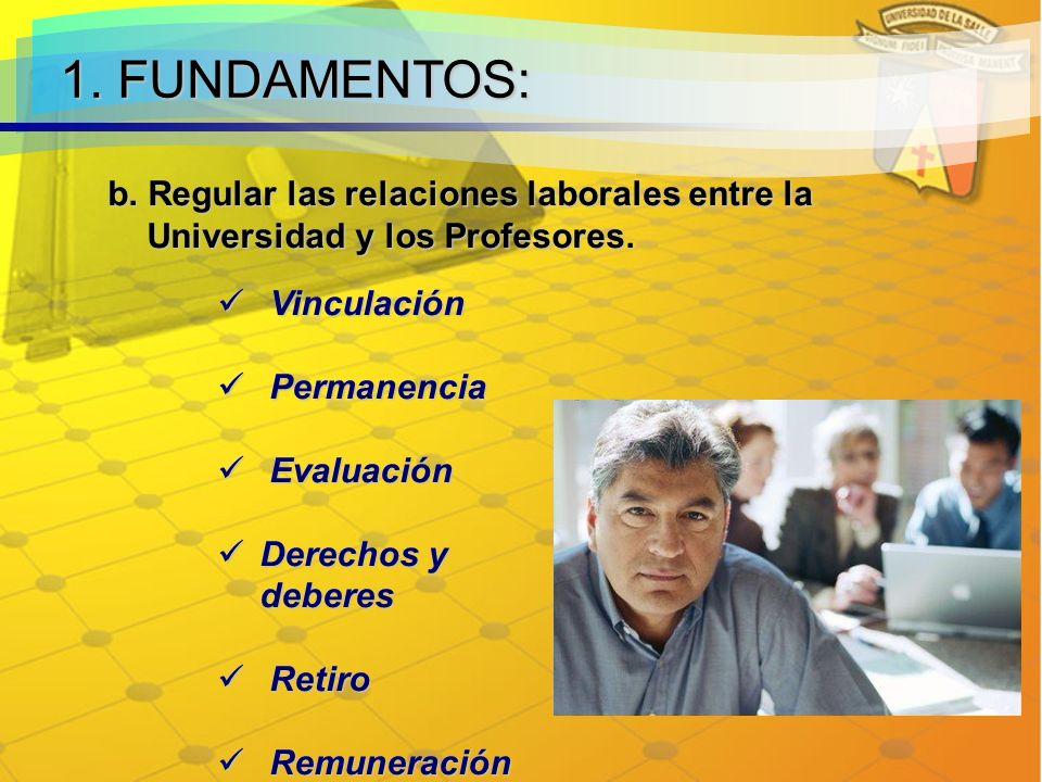 1. FUNDAMENTOS: b. Regular las relaciones laborales entre la Universidad y los Profesores. Vinculación.