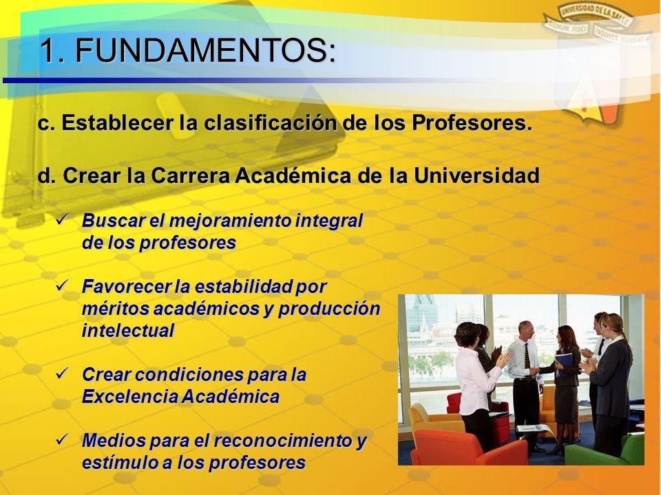 1. FUNDAMENTOS: c. Establecer la clasificación de los Profesores.