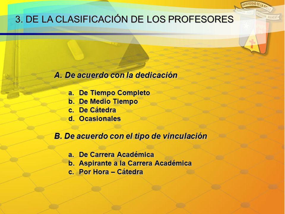 3. DE LA CLASIFICACIÓN DE LOS PROFESORES