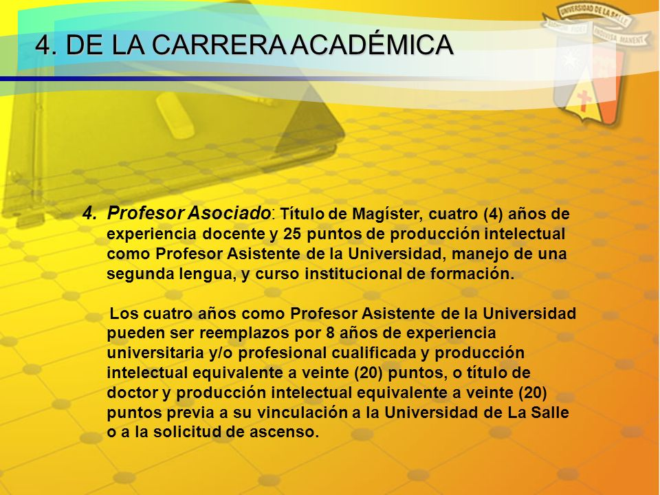 4. DE LA CARRERA ACADÉMICA