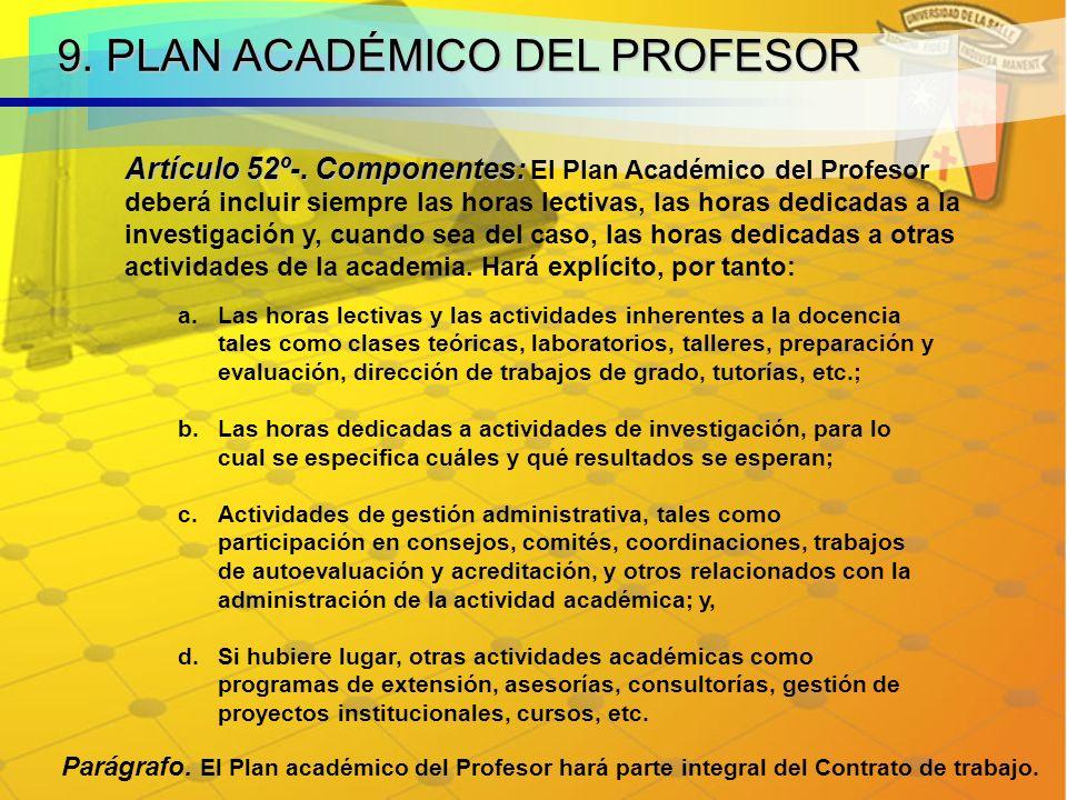 9. PLAN ACADÉMICO DEL PROFESOR