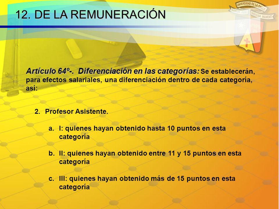 12. DE LA REMUNERACIÓN