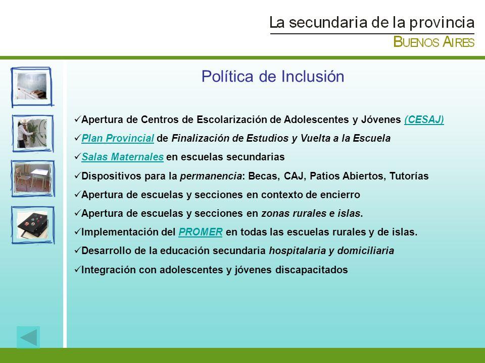 Política de Inclusión Apertura de Centros de Escolarización de Adolescentes y Jóvenes (CESAJ)